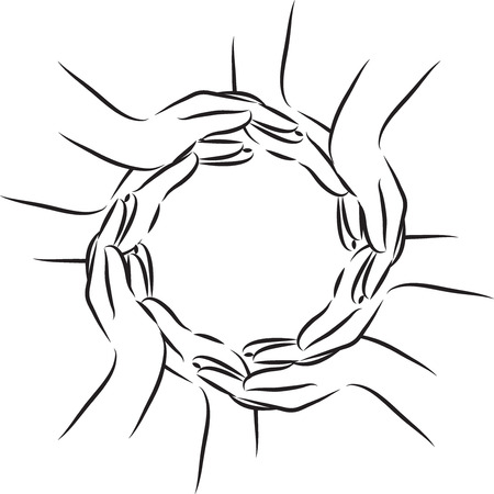 black and white: hands illustration white and black