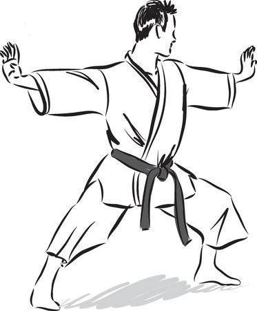 judo: man karate gesture illustration Illustration