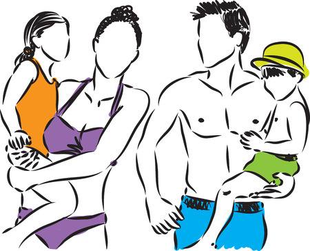 woman smile: family at the beach holiday illustration Illustration