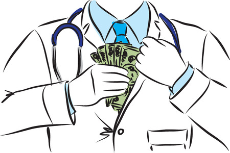 doctor with money: doctor hidding dollars money illustration Illustration