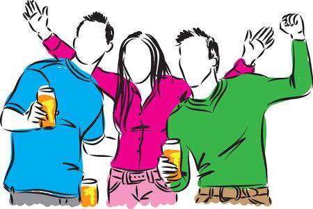 grupo de hombres: las personas felices beber cerveza ilustración Vectores