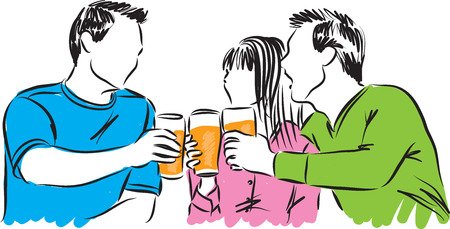 friends having fun: friends party time drinking beer illustration