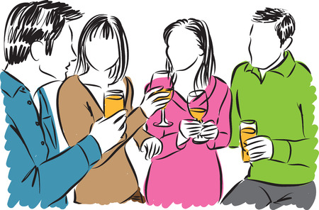 men cartoon: friends together and drinks illustration