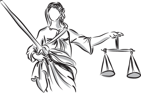 law and order: lady justice sculpture illustration