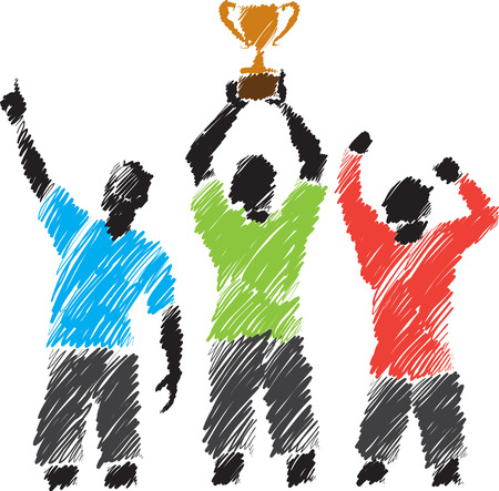 competitive advantage: winners illustration with champion cup