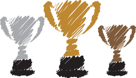 gold silver: GOLD SILVER BRONZE CUP ILLUSTRATION