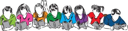 children book: children reading books illustration