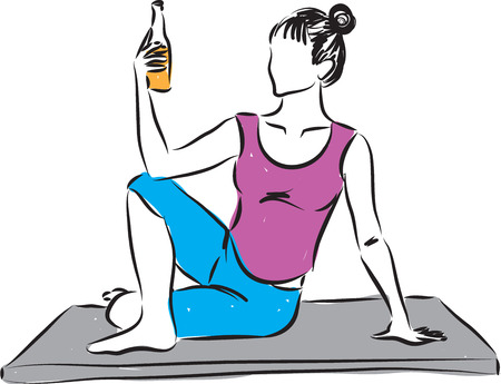 woman yoga drinking beer illustration