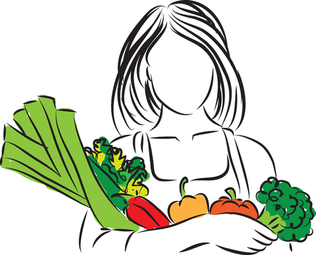 vegetarians: woman with vegetables nutrition illustration
