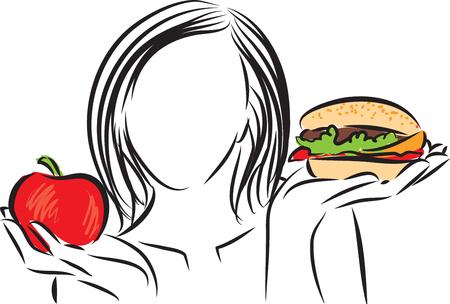 nutritionist: woman nutrition choice illustration