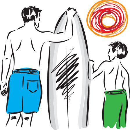 surfers: man and boy surfers illustration