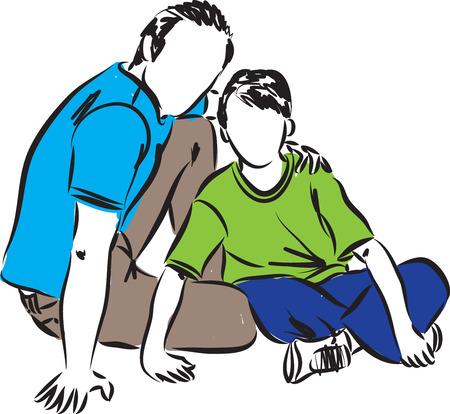 personas abrazadas: padre e hijo ilustración
