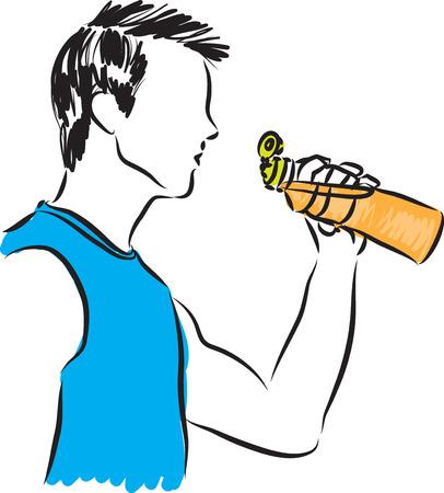 fitness man drinking illustration