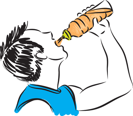 man drinking water: fitness man drinking 2 illustration Illustration