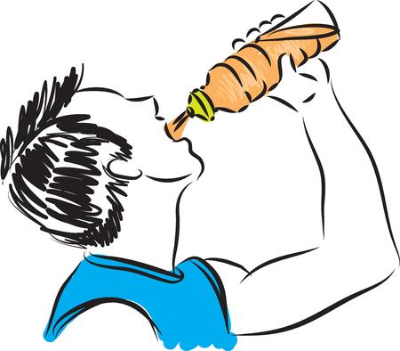 fitness man drinking 2 illustration Vectores