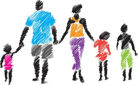 Familie Pinsel-Stil Illustration