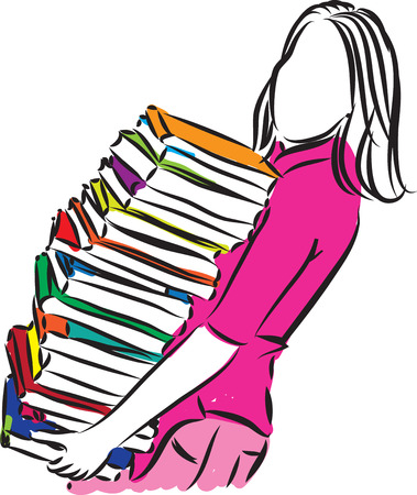 woman carrying books illustration