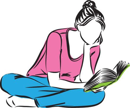 여자가 책을 읽고 그림 일러스트