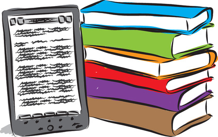 pad: electronic book and books illustration Illustration