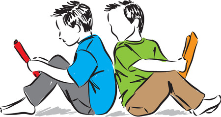 early childhood: kids reading books illustration Illustration