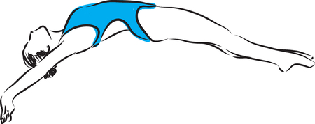 competitions: diving jump 2 swimmer woman illustration