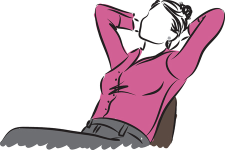 people in line: business woman sitting relaxing illustration Illustration