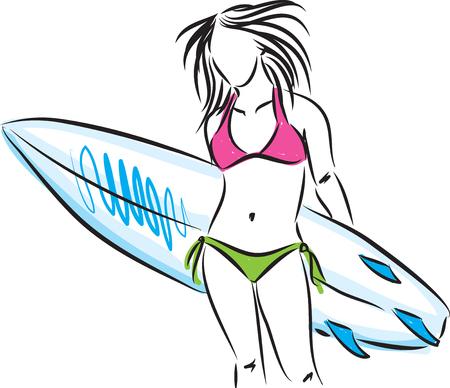 surfer vector: surfer girl with surf board illustration