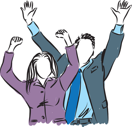 happy businessman and busineswoman illustration