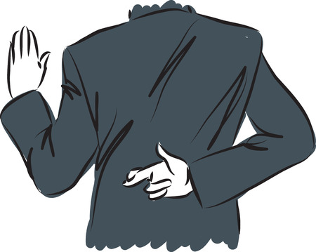 dishonest: businessman swearing and crossing fingers concept illustration