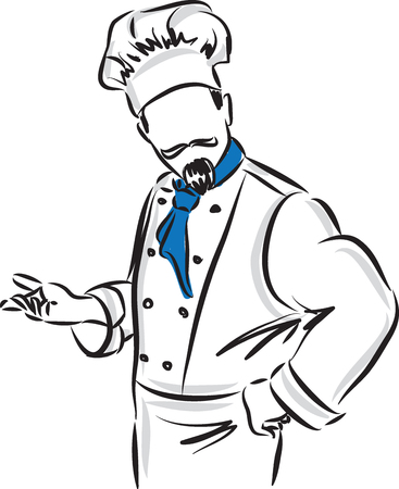 chefs: master chef with posture illustration Illustration