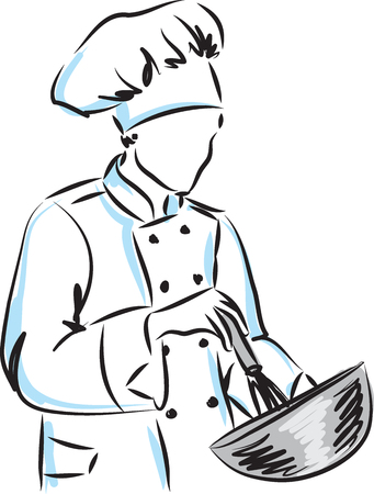 woman master chef illustration Illustration