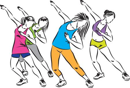 fitness group dance illustration Illustration