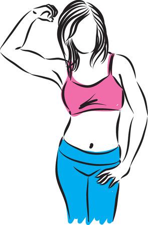 fitness vrouw sterk gebaar illustratie