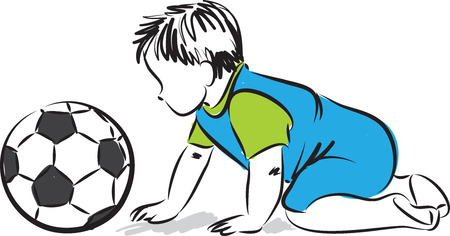 baby playing: baby playing with football soccer ball illustration