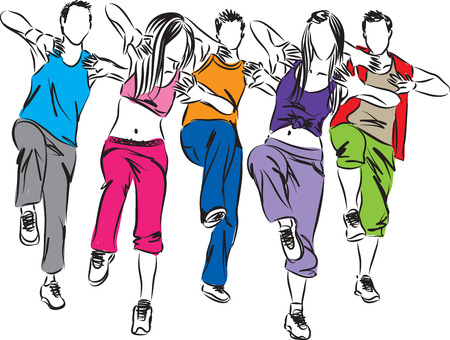 group of dancers fitness illustration Ilustração