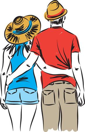 tourists man and woman illustration