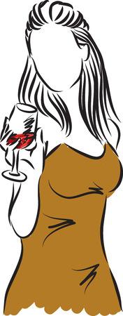 Mooie vrouw met een glas wijn illustratie Stockfoto - 56298771