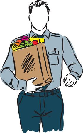 grocery bag: businessman with grocery bag illustration