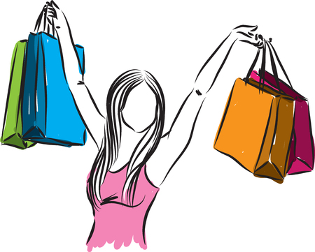 stock photograph: woman with shopping bags illustration