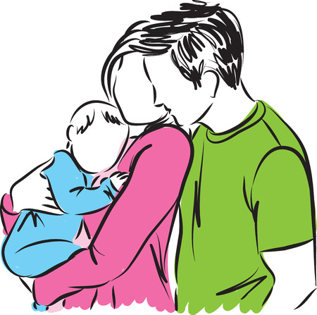 baby and mother: happy parents with baby illustration