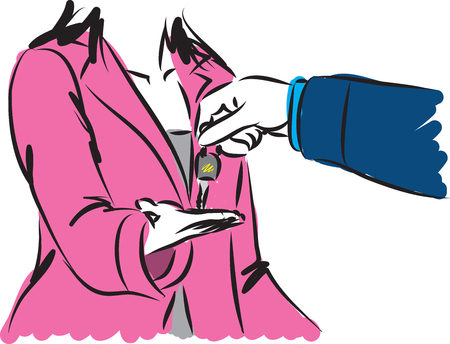 young: salesman giving keys illustration