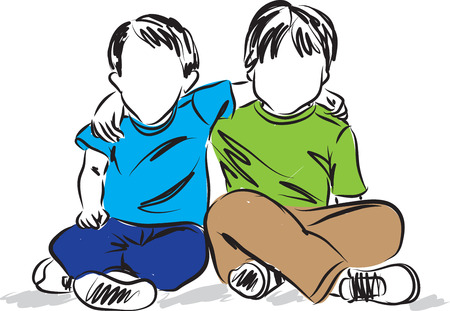 mates: two boys sitting down friends illustration