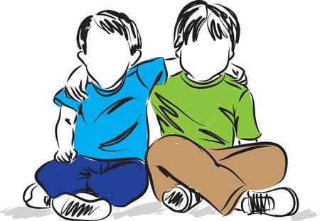 child sitting: two boys sitting down friends illustration