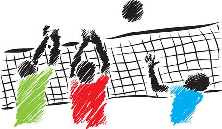 volleyball players brush illustration 일러스트
