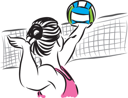 summer holidays: beach volley woman 3 player illustration