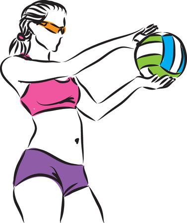 beach volley woman 4 player illustration Çizim