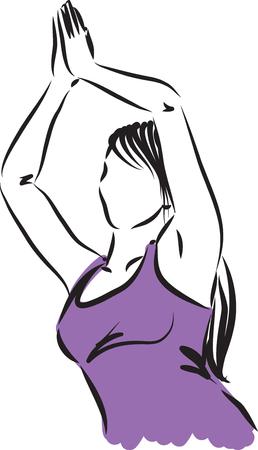 woman meditation: WOMAN meditation breathing illustration Illustration