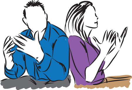 accusations: couple discussing man and woman illustration