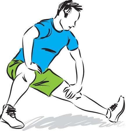 MAN STRETCHING EXERCISES ILLUSTRATION