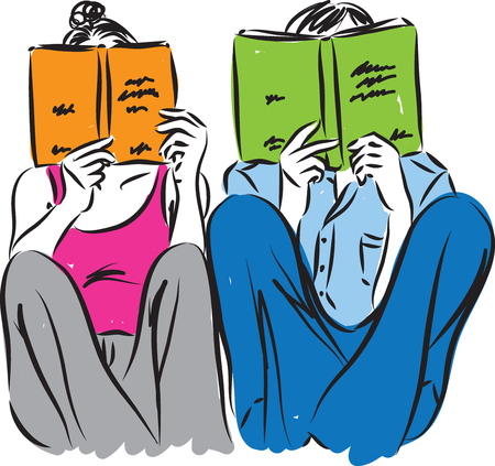 book vector: man and woman reading concept illustration